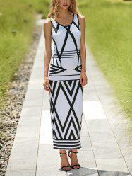 Scoop Neck Sleeveless Printed Women's Maxi Dress -