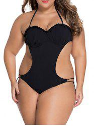 Plus Size Halter Backless String Monokini One Piece Swimsuit