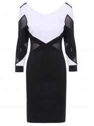 Mesh Splicing Backless Bandage Dress with Sleeves - WHITE AND BLACK