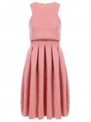 Stylish Round Collar Sleeveless Pleated Dress For Women -