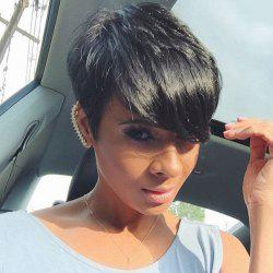 Trendy Side Bang Short Fluffy Women's Human Hair Wig