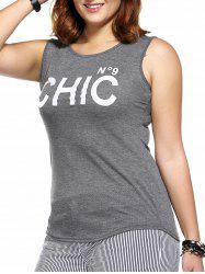 Casual Plus Size Letter Print Hit Color Women's Tank Top -