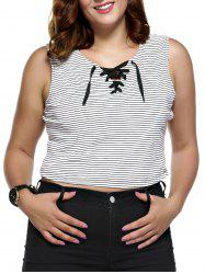 Plus Size Lace Up Striped Tank Top