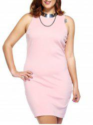 Alluring Plus Size Pink Sleeveless Women's Bodycon Dress