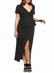 Plus Size High Slit Low Cut Wrap Cocktail Dress -