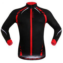 Fashionable Long Sleeve Warmth Thermal Fleece Cycling Jacket For Unisex - RED WITH BLACK