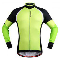 Stylish Windproof Long Sleeve Thermal Fleece Cycling Jacket For Unisex - BLACK AND GREEN