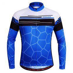 Simple Irregular Pattern Quick Dry Cycling Long Sleeve Jersey For Unisex - BLUE
