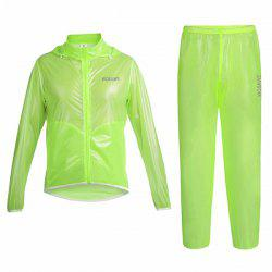 Simple Solid Color Windproof and Waterproof Cycling Jersey Raincoat Suits For Unisex - GREEN