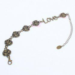 Vintage Rose Love Shape Flower Traditional Anklets - BRONZE-COLORED