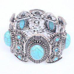 Faux Turquoise Carved Alloy Bracelet - SILVER