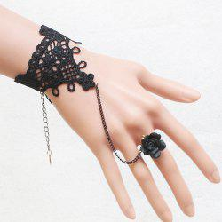 Vintage Floral Hollow Out Bracelet With Ring For Women