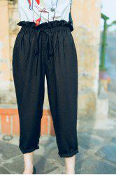 Drawstring Empire Waist Ankle Pants -