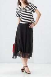 Loose Striped T-Shirt and High Waist Silk Pants Twinset -