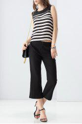 Striped Tank Top and Balck Wide Leg Pants Twinset -