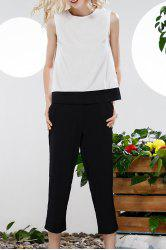 Bowknot Hit Color Tank Top and Wide Leg Pants Suit -