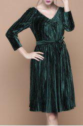 V Neck Velour Pleated Long Sleeve Dress -