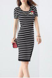 Sheath Irregular Hem Striped Dress -