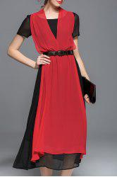 Color Block Belted Chiffon Dress -