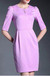 Solid Color 1/2 Sleeve Dress -