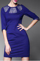Sheer Lace Splicing Bodycon Dress -