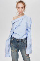 Embroidered Oversized Stripe Shirt -