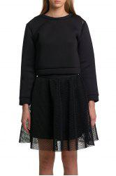 Black Mesh Spliced Cropped Sweatshirt -