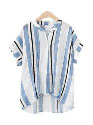 Pure and Plain Striped Asymmetrical Blouse - LIGHT BLUE XL