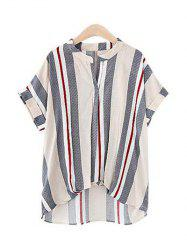 Pure and Plain Striped Asymmetrical Blouse