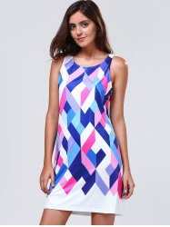 Women's Stylish Jewel Neck Sleeveless Geometrical Colorful Dress -
