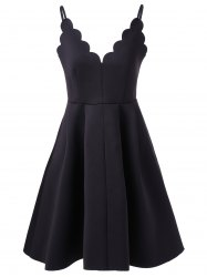 Scalloped A Line Flare Cocktail Slip Dress -