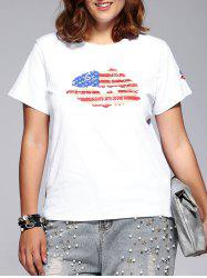 Casual Plus Size Lip Pattern Rhinestoned Embellished Women's T-Shirt