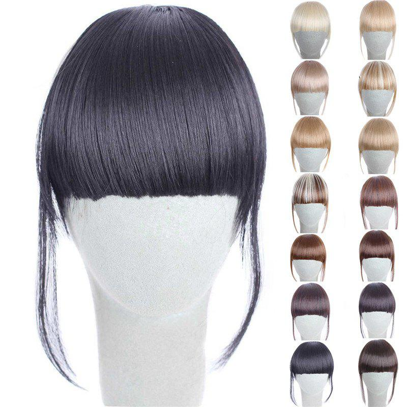 Fashion 14 Colors Clip In Synthetic Front Full Bang With Sideburns For WomenHAIR<br><br>Color: BLACK; Style: Bangs; Type: Clip-In/On; Hairstyling: Straight; Fabric: Synthetic Hair; Length: Short; Weight: 0.070kg; Package Contents: 1 x Bang; Length Size(CM): 14CM?Sideburn 25CM?;