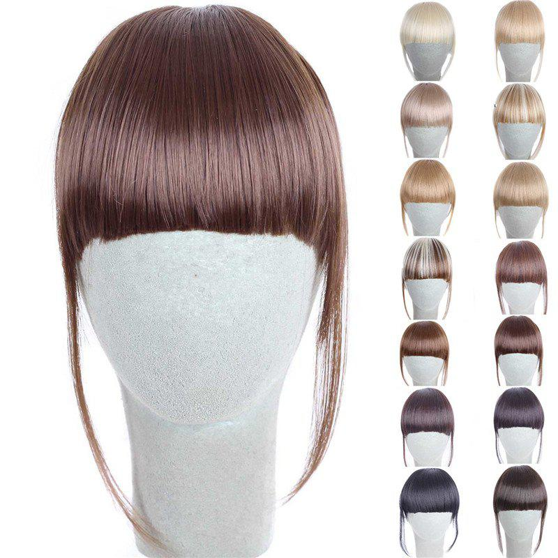Fashion 14 Colors Clip In Synthetic Front Full Bang With Sideburns For WomenHAIR<br><br>Color: CHOCOLATE; Style: Bangs; Type: Clip-In/On; Hairstyling: Straight; Fabric: Synthetic Hair; Length: Short; Weight: 0.070kg; Package Contents: 1 x Bang; Length Size(CM): 14CM?Sideburn 25CM?;