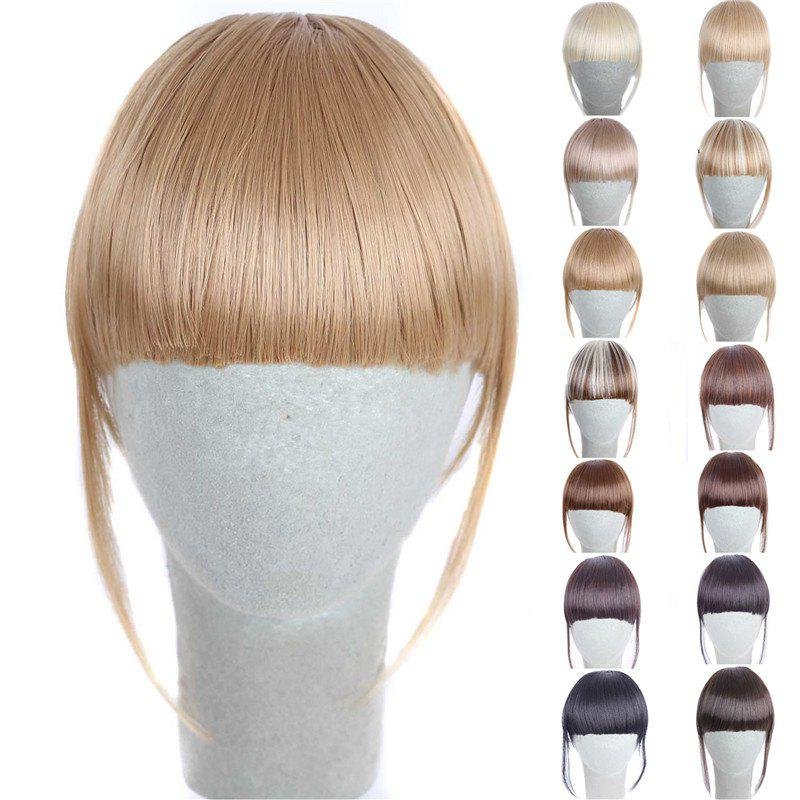 Fashion 14 Colors Clip In Synthetic Front Full Bang With Sideburns For WomenHAIR<br><br>Color: GOLDEN BLONDE; Style: Bangs; Type: Clip-In/On; Hairstyling: Straight; Fabric: Synthetic Hair; Length: Short; Weight: 0.070kg; Package Contents: 1 x Bang; Length Size(CM): 14CM?Sideburn 25CM?;