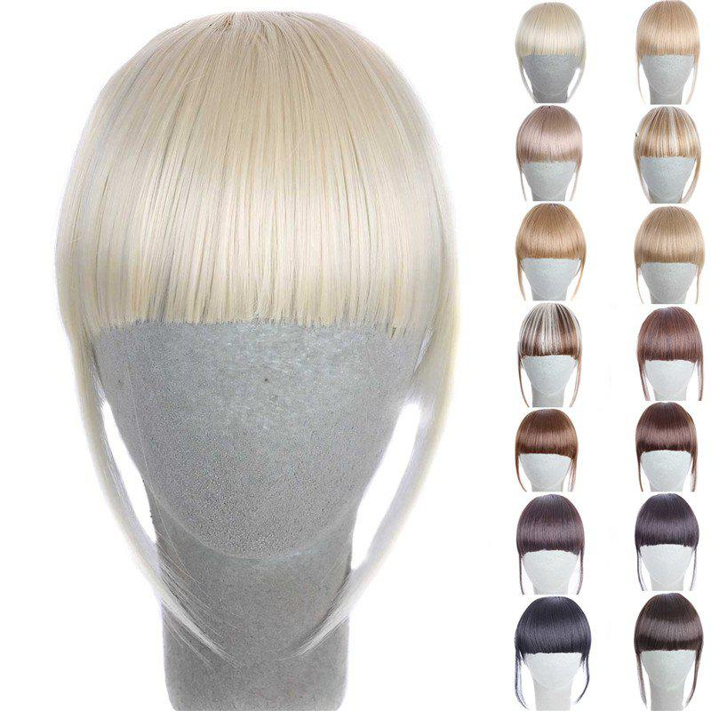 Fashion 14 Colors Clip In Synthetic Front Full Bang With Sideburns For WomenHAIR<br><br>Color: LIGHT GOLD; Style: Bangs; Type: Clip-In/On; Hairstyling: Straight; Fabric: Synthetic Hair; Length: Short; Weight: 0.070kg; Package Contents: 1 x Bang; Length Size(CM): 14CM?Sideburn 25CM?;