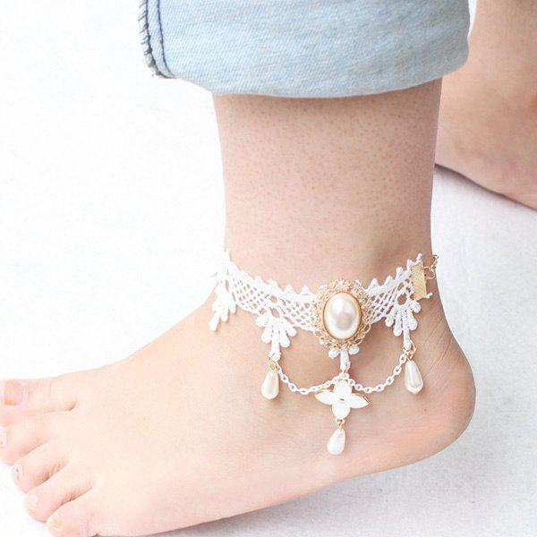 Outfits Vintage Faux Pearl Flower Anklet
