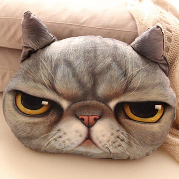 Deep Gray Cartoon Back Cushion 3d Cat Shape Design