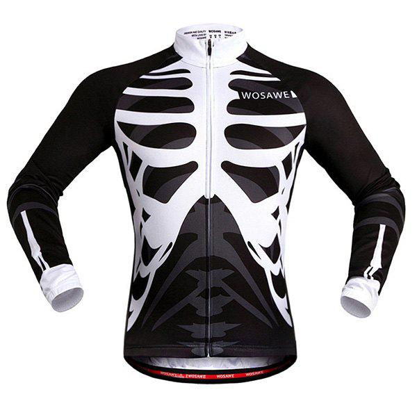 Discount Stylish Skeleton Pattern Breathable Quick Dry Cycling Long Sleeve Jersey For Unisex