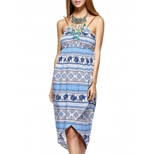 Fashionable Knitted Gallus Printing Asymmetric Dress For Women