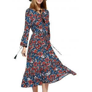 Midi Swing Floral Long Sleeve Flowing Dress