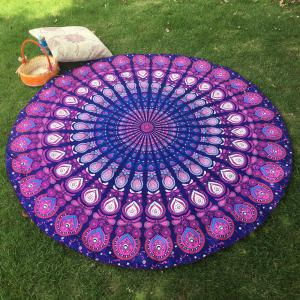Bikini Boho Swimwear Arab Print Silky Comfortable Round Beach Throw Scarf - Purple