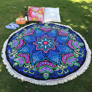 Ethnic Bikini Boho Swimwear Eight-Square Flower Print Fringed Round Beach Decor Throw Scarf