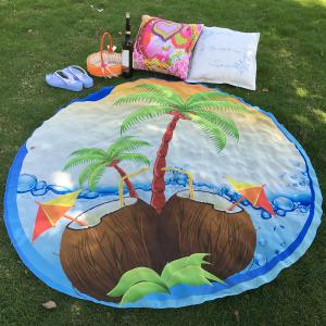 Bikini Boho Swimwear Coconut Tree Chiffon Round Beach Decor Throw Scarf - Light Blue