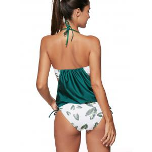 Leaf Print Halter Blouson Tankini Swimwear - BLACKISH GREEN 2XL