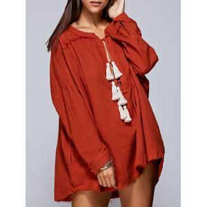 Fashion Round Neck Long Sleeve Tassels Solid Color Blouse For Women