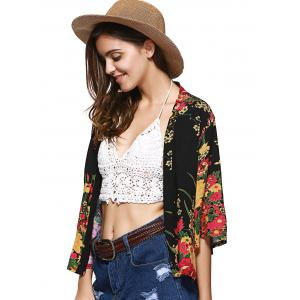 Collarless Floral Cardigan Short Kimono - RED S