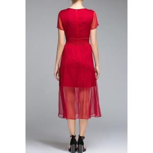 Pleated See Thru A Line Dress -