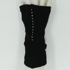 Pair of Chic Black Long Knitted Fingerless Gloves For Women -