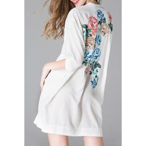 Button Front Back Embroidery Dress -